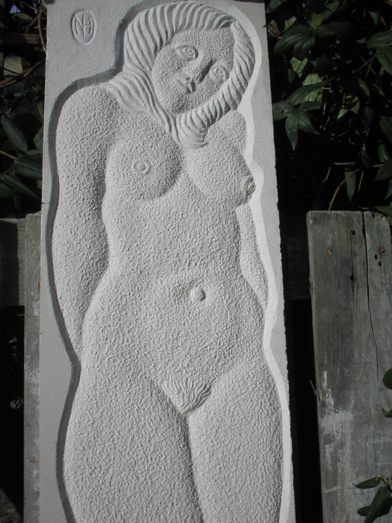 Limestone - nudes - Carved in Portugese limestone in Dublin. Low relief of female nude.