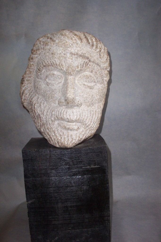 Granite Head Fragment. Bearded head is inspired by the sculptures of antiquity.