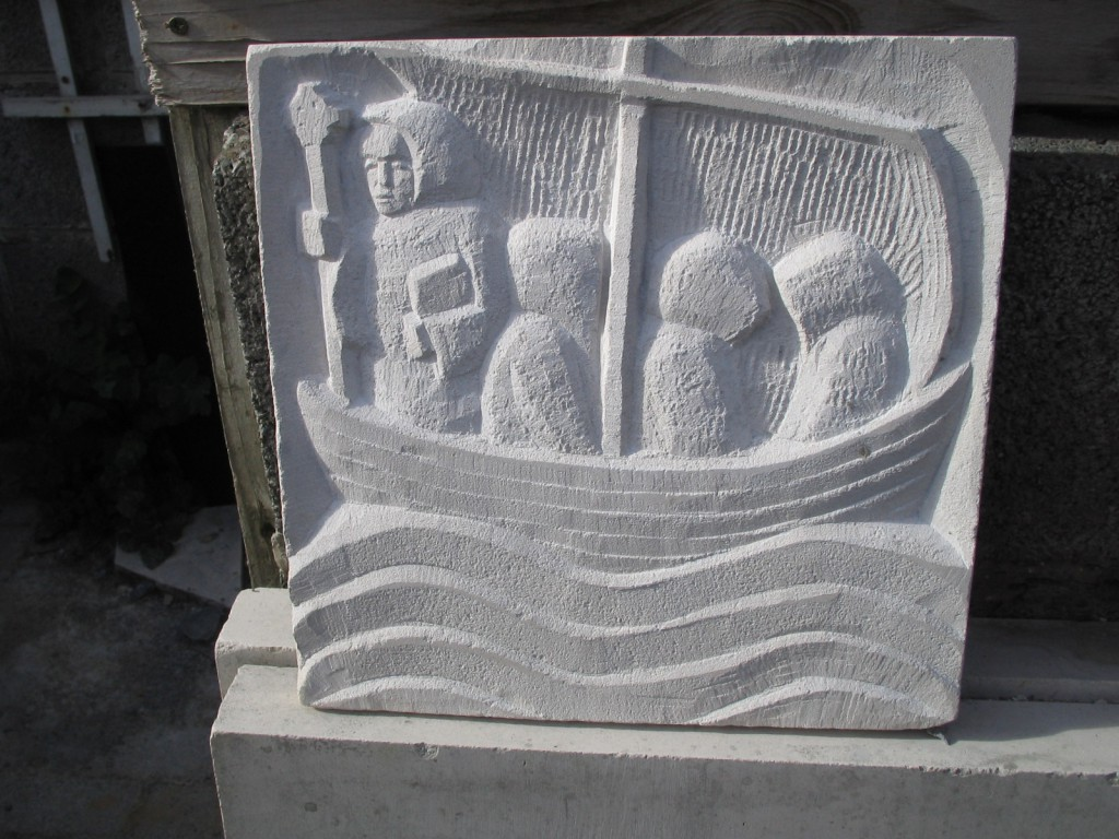 Brendan voyage panel -  Carved in Portugese limestone and cast in Bronze, in Dublin.
