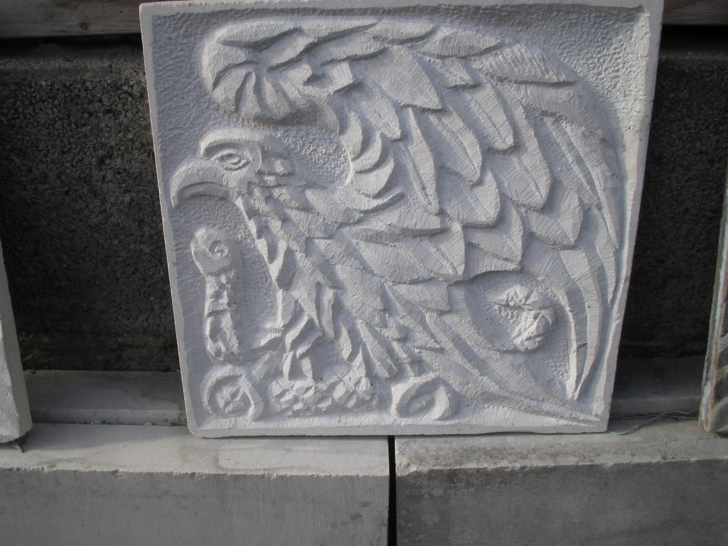 Bronze & Stone Relief panels -  Carved in Portugese limestone and cast in Bronze, in Dublin. Depicts an Eagle catching a snake.