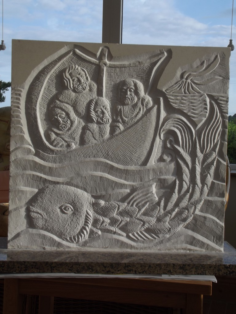 Saint Brendan and the Whale. White Limestone relief.