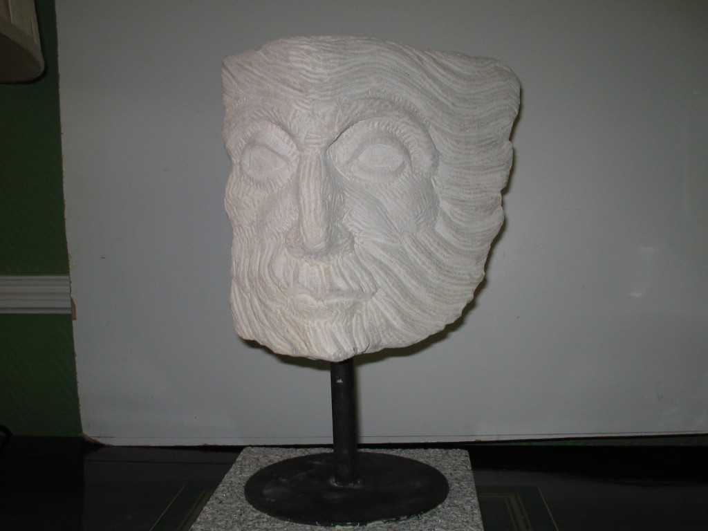 Head fragment, white limestone. Inspired by Classical Art.